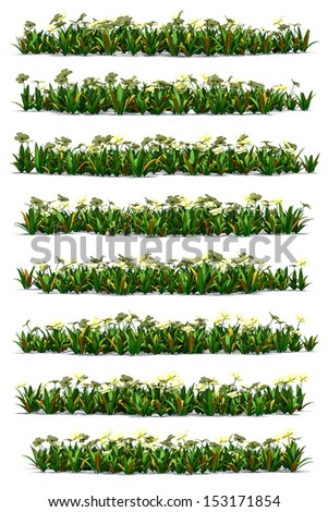 Flowers field cartoon side view. 3d rendered. Isolate on white background.
