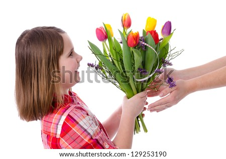 Flowers for mother - stock photo