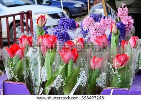 Flowers for sale on the street tulips hyacinth - stock photo