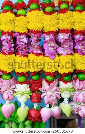 flowers hand decorated for Hindu temple praying - stock photo