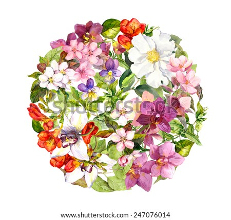 Flowers in circle floral pattern with butterflies. Meadow: violets, grass, wild herbs, cherry flowers, orchid. Watercolor - stock photo