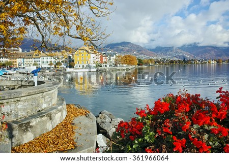 Flowers in embankment of town of Vevey and Lake Geneva, canton of Vaud, Switzerland - stock photo