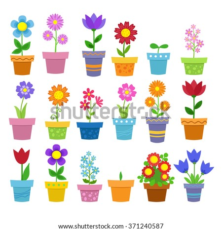 Flowers in pots - clip art. Raster copy.