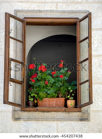 Flowers in pots in the open window of the historic house - stock photo
