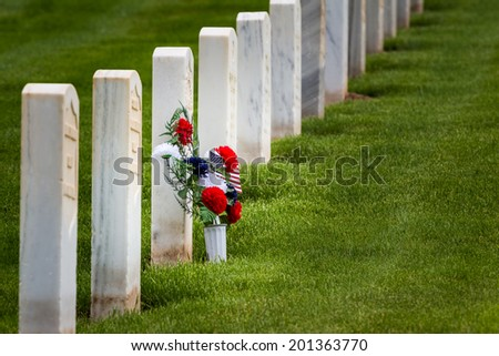 flowers in rows of tombstones in a military graveyard - stock photo