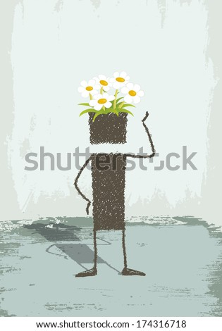 Flowers in the head. A person is standing. In his head grow flowers. A conceptual illustration about creativity, imagination. Or a symbol of a respectful person with the environment. - stock photo