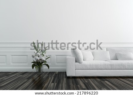 Flowers in Vase next to White Sofa in Luxury Upscale Home - stock photo