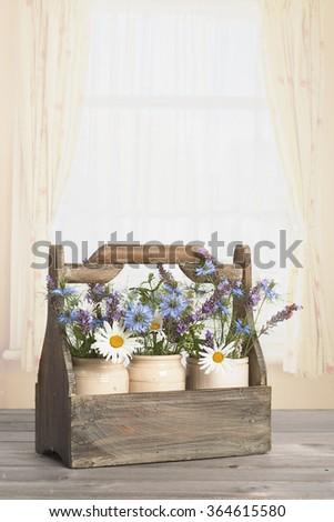 Flowers in vintage ceramic pots in the window - stock photo