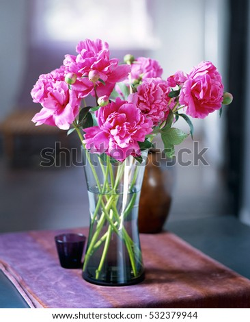 Flowers in vintage vase isolated. Beautiful spring flowers and plant in vase