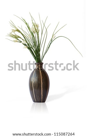 flowers in white vase, isolated on white - stock photo