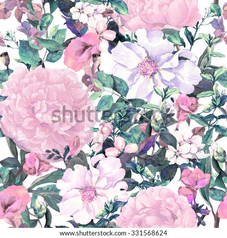 Flowers, leaves, grass. Vintage repeating floral pattern in neutral retro colors. Watercolor - stock photo