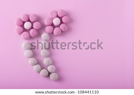 flowers made of small candies - stock photo