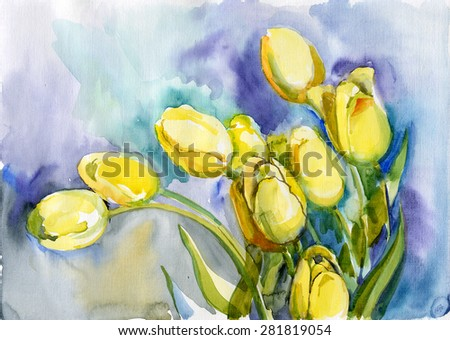 Flowers nature, botany, watercolor - stock photo