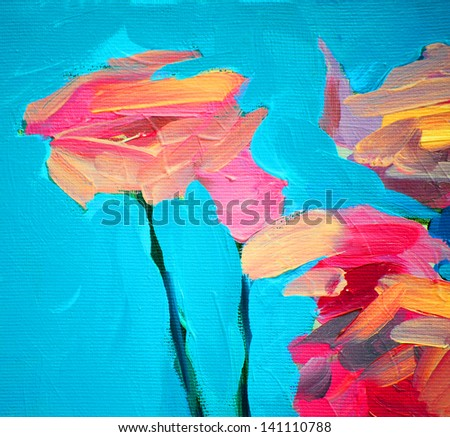 flowers of a rose and blue sky, painting by oil on canvas, background - stock photo