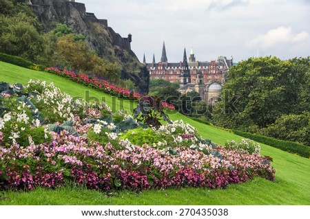 Flowers of Edinburgh castle, Scotland - stock photo