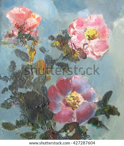 Flowers of Rosa. A fragment of the picture. Bright colorful background.