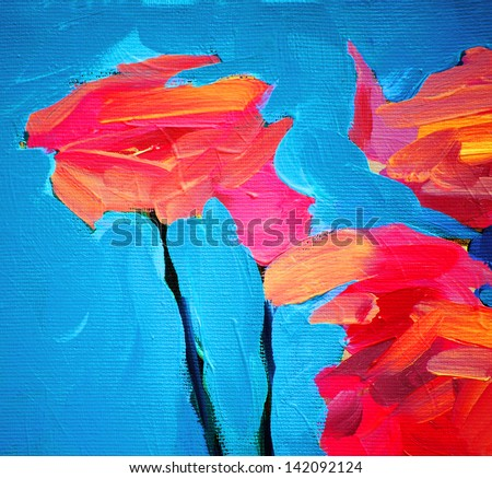 flowers of rose and blue sky, painting by oil on canvas - stock photo
