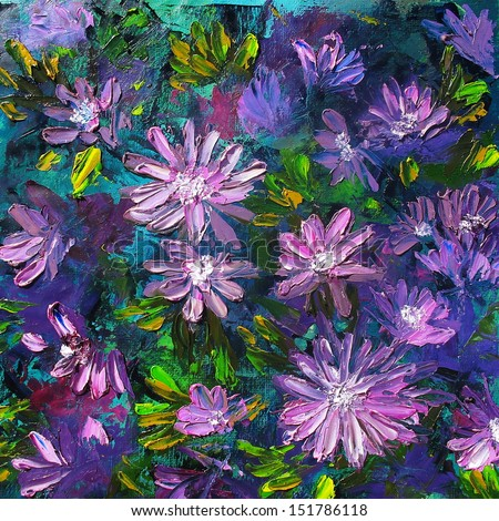 flowers, oil on canvas - stock photo