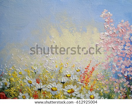 flowers oil paintings texture - Oil Painting