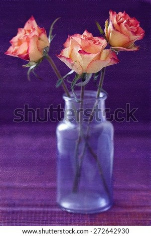 flowers on a purple background .grunge paper background.  - stock photo