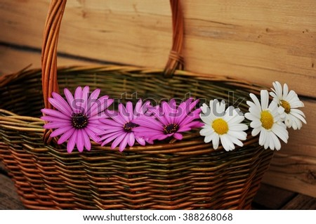 flowers on basket