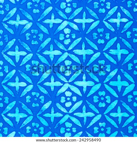 flowers on batik fabric texture for background , blue color  - stock photo
