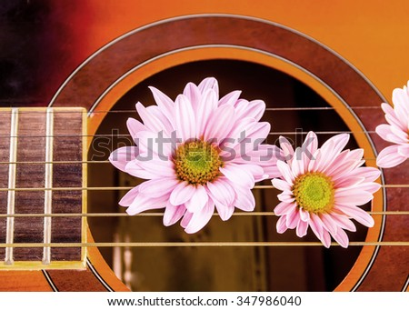 flowers on guitar string