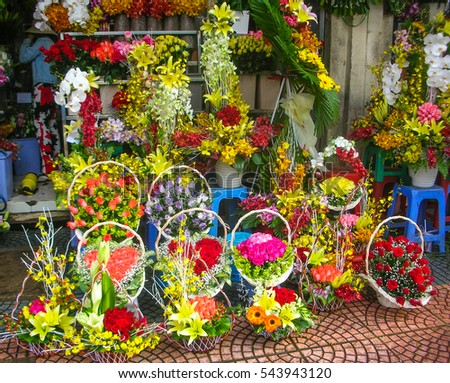 Flowers on sale in Ho Chi Minh city market, Vietnam, Asia