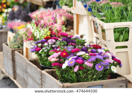 Flowers on the  market in Austria