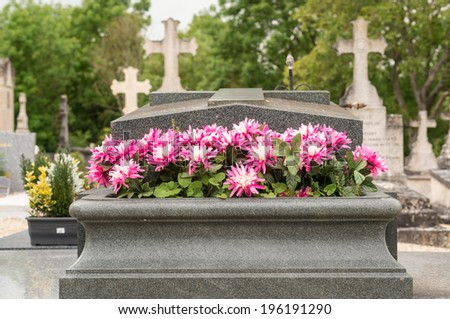 Flowers on the tomb in a graveyard - stock photo