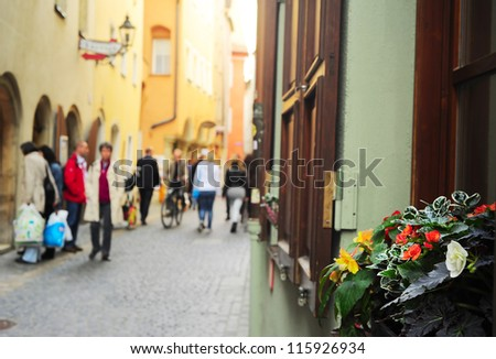 Flowers on the windowsill in Regensburg old town, Germany - stock photo