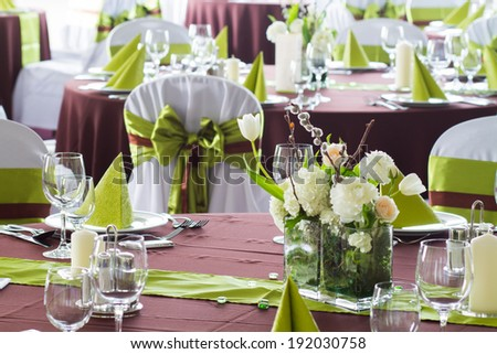 flowers on wedding table - stock photo