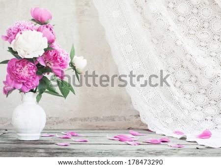 flowers on white background - stock photo