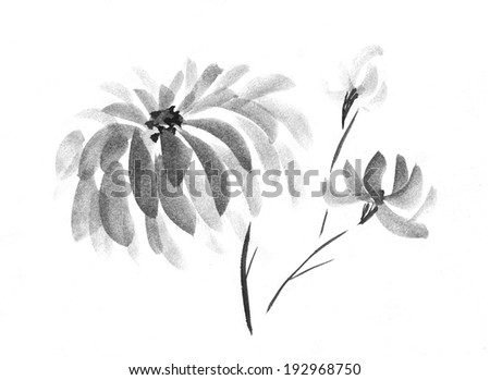 Flowers on White Background. Ink Painting. - stock photo