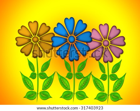 Flowers on yellow background.