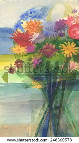 Flowers. Original watercolor painting on paper