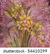 flowers orihidei, painting batik - stock photo