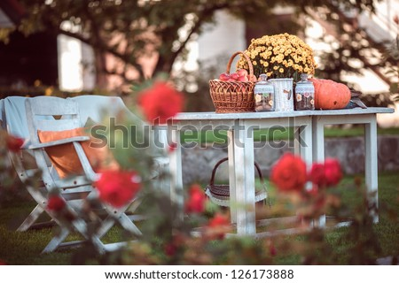 Flowers, pumpkins and apples in basket on garden table - stock photo