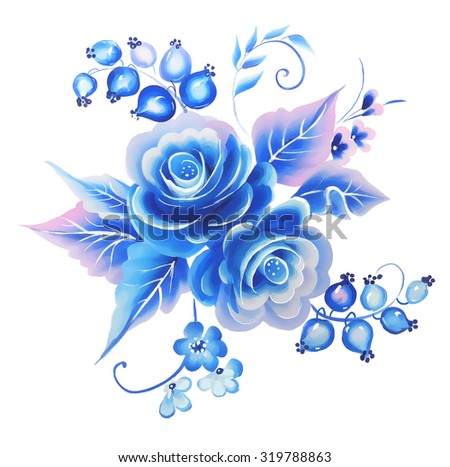 Flowers rose one stroke painting   blue