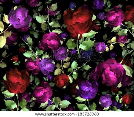 flowers rose watercolor original pattern seamless design - stock photo