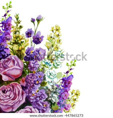 Flowers rose with leaves watercolor illustration