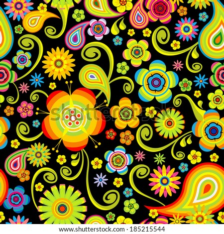 Flowers seamless (bright floral pattern)