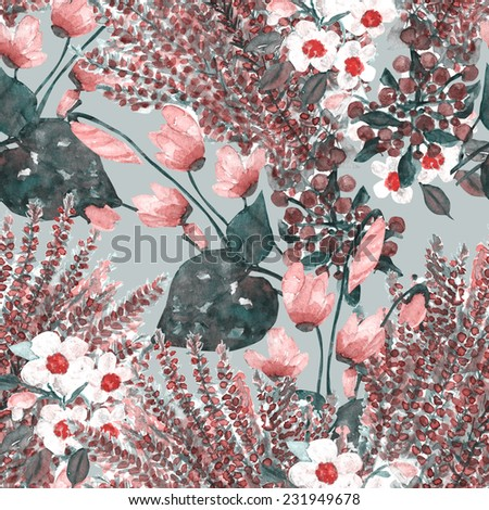 Flowers seamless pattern - stock photo