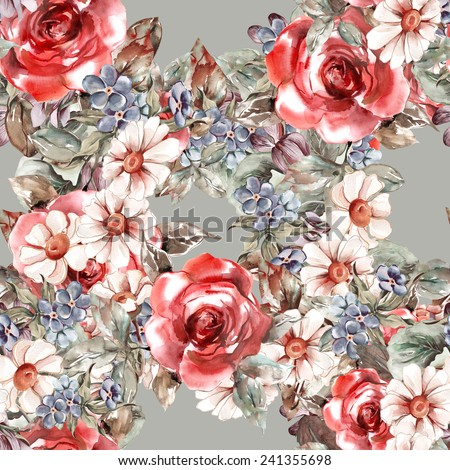 Flowers Seamless Pattern - stock photo