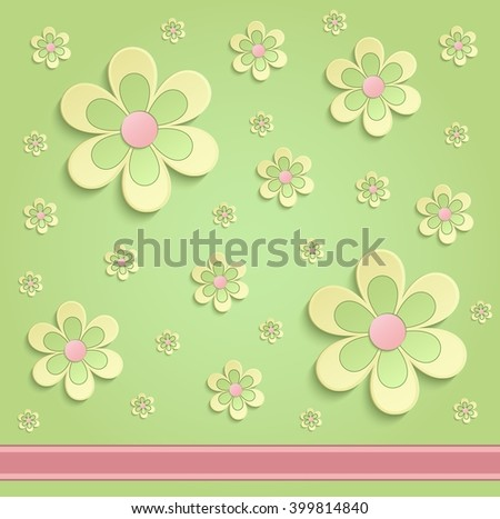 Flowers Spring paper 3D orange green raster - stock photo