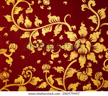Flowers Thailand style and antique gold textured stripes.