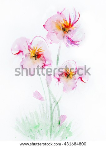 Flowers watercolor - stock photo