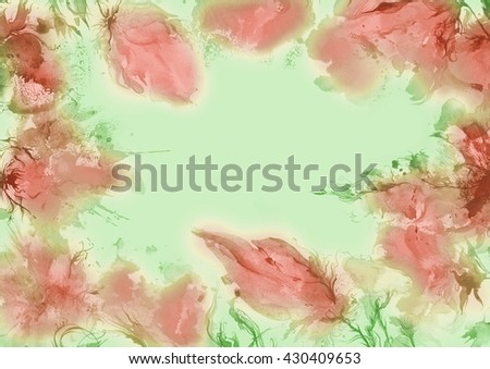 Flowers watercolor illustration,  abstract background