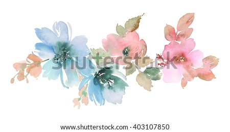 Flowers watercolor illustration. Manual composition. Mother's Day, wedding, birthday, Easter, Valentine's Day. Pastel colors. Spring. Summer. - stock photo