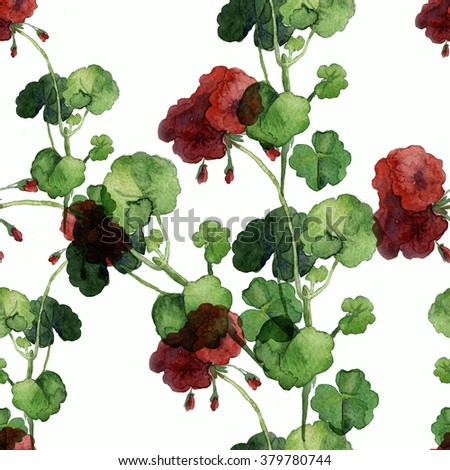 flowers watercolor of floral rose seamless pattern geranium - stock photo